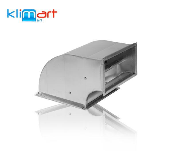curva di riduzione a 90° in lamiera di acciaio zincato, deflettori su sezione con lato maggiore > 300 mm, giunzione trasversale con flangia in profilato zincato riportato.