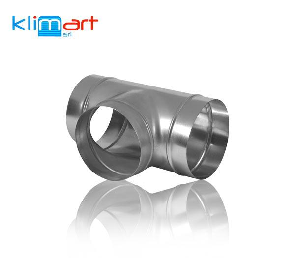 derivazione simmetrica a 90° in lamiera di acciaio zincato, estremità ad innesto.